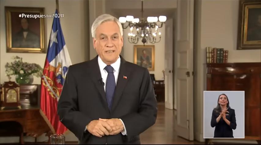 Presidente Sebastián Piñera presenta presupuesto 2020 en Cadena Nacional
